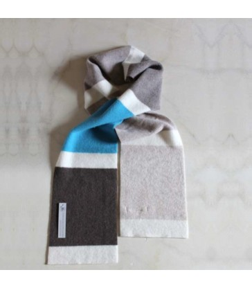 Striped Wool Scarf Grey and Blue gifts for men christmas presents