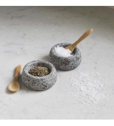 Set of Granite Salt and Pepper Bowls with Spoons
