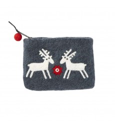 Reindeers Felted Wool Purse