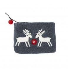 Reindeers Felted Wool Purse