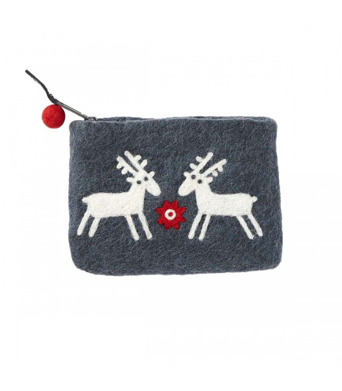 reindeers felted wool purse stocking fillers gifts for girls