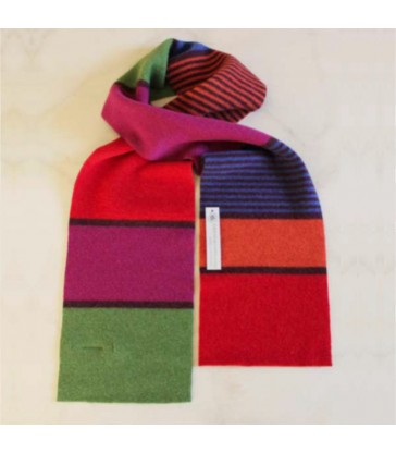 scottish wool scarves multicolour striped scarf in pink raspberry green and mauve