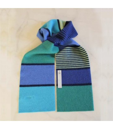 Azure and Blue Striped Wool Scarf gifts for her