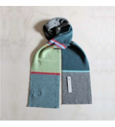 Delauney Wool Scarf - Moss Green/Grey