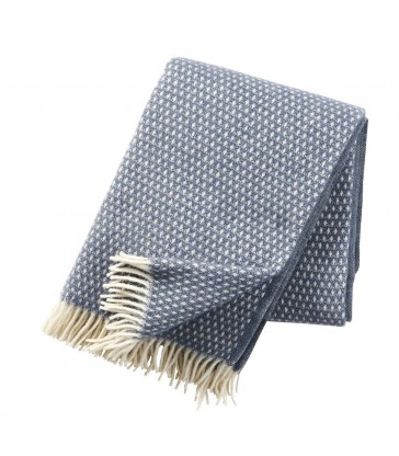 smokey blue wool throw with a white woven diamond pattern and tassels home gifts from the blue door