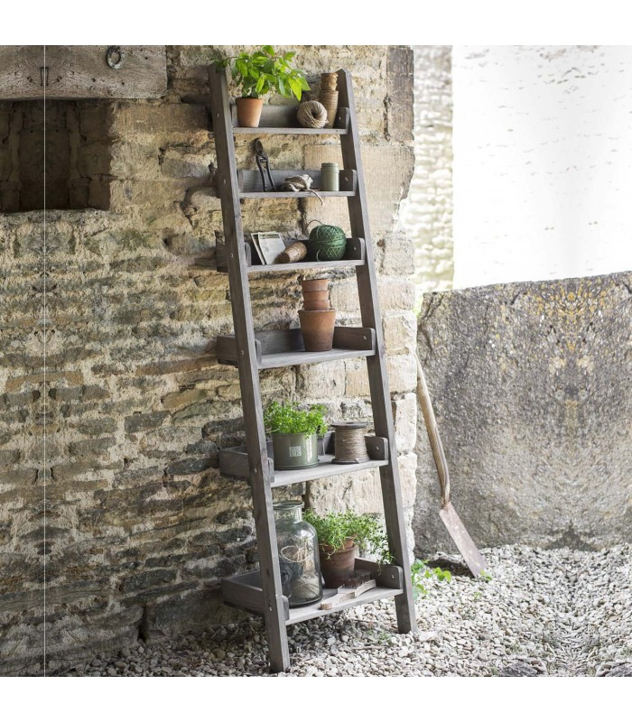 outdoor folding storage ladder shelf in rustic finish