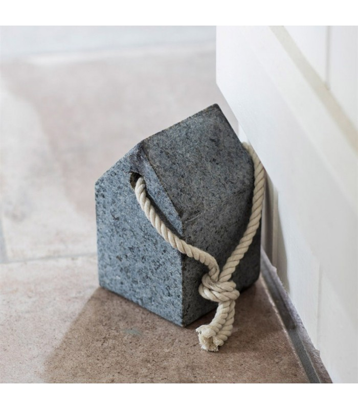 granite door stop with hemp rope