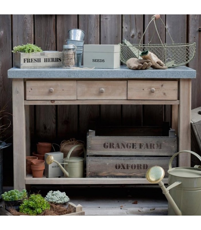 Garden Potting Table in Spruce with Drawers