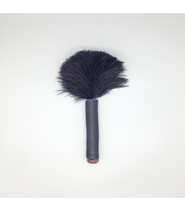 miniature feather duster leather handled mini skin relaxer