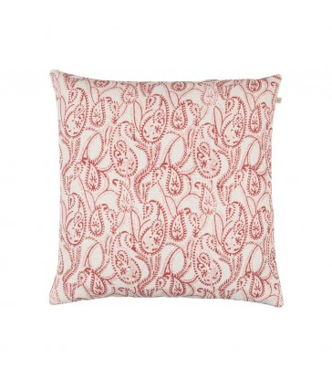 Amrita Coral red linen cushion
