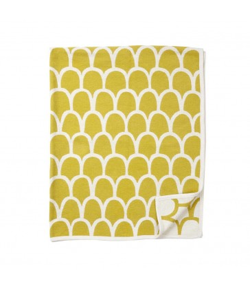 Yellow ans white modern pattern cotton blanket