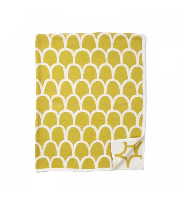 Yellow ans white modern pattern cotton blanket