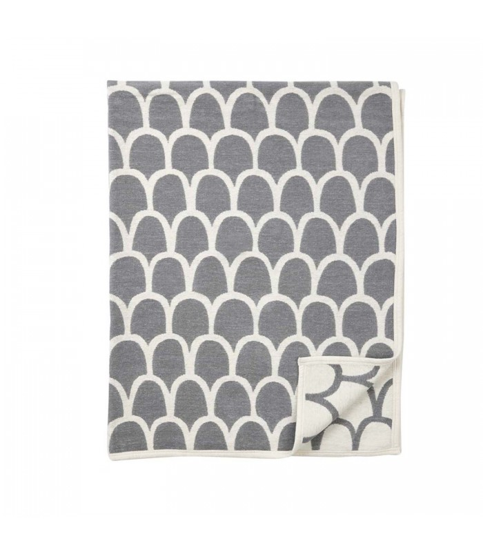 Grey Modern Cotton Blanket with abstract feather pattern