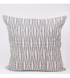 Grey Leaf  Block Print Cushion