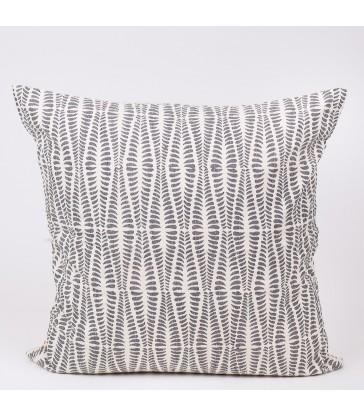 Grey Leaf  Block Print Cushion