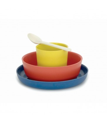 kids bamboo dinner sets in colourful BLUE red and yellow combo biodegradable eco friendly
