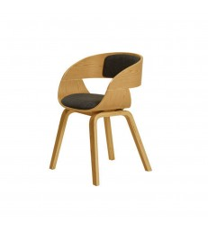 oak veneer dining room chair with upholstered seat