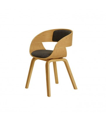 oak veneer dining room chair with upholstered seat