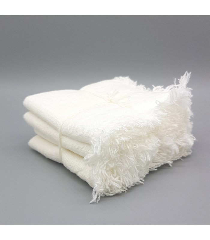 white linen napkins in a rustic style