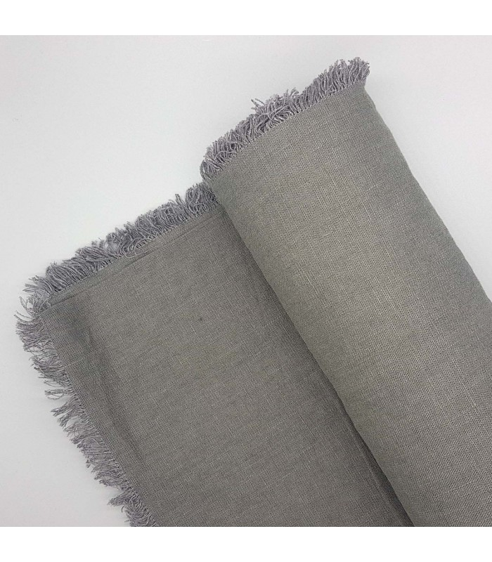 dark grey linen tablecloth with fringed eging