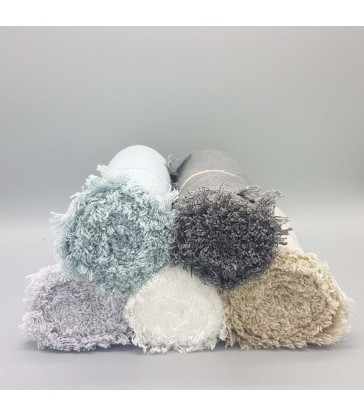 selection of rustic linen table runners in 5 different colours