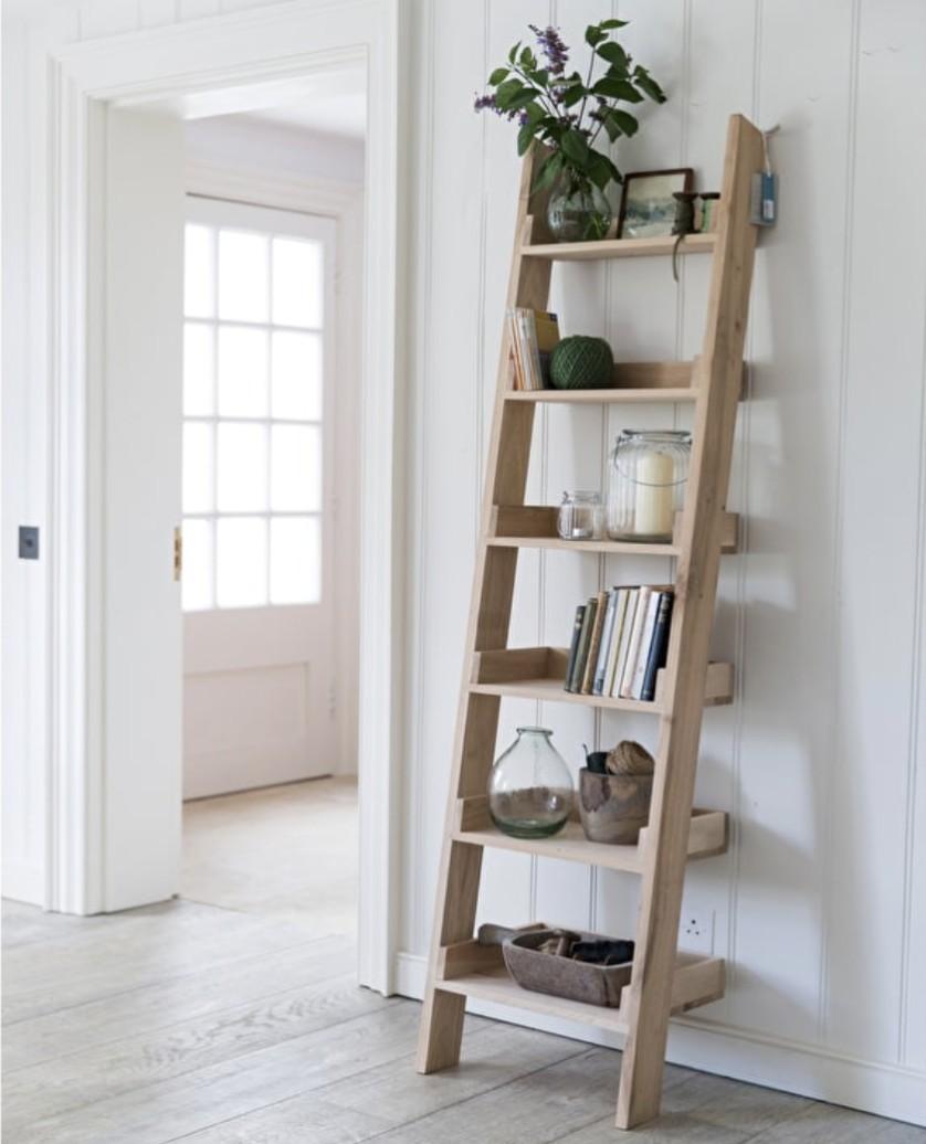 Oak Shelf Ladder Narrow The Blue Door