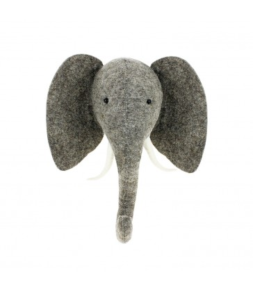 felt elephant head with tusks childrens room decor