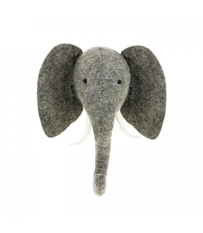 felt elephant head with tusks childrens room decor