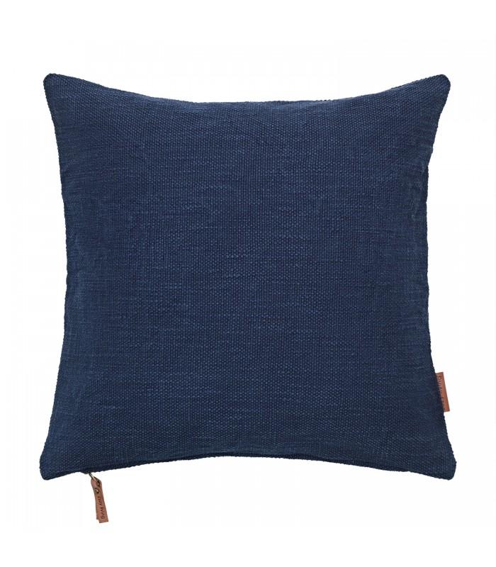 Navy Blue Cotton Hand Loomed Cushion