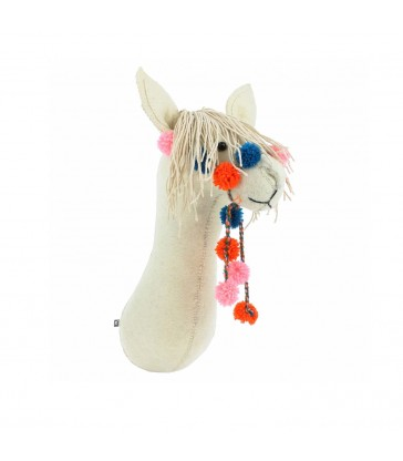 felted Llama animal head with colourful pompom bridle