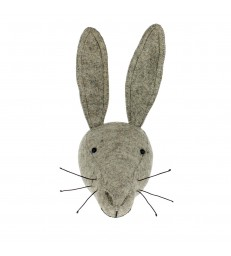 Grey Felt Hare Animal Head