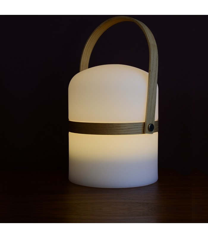 portable lantern with timber handle that you can recharge by usb
