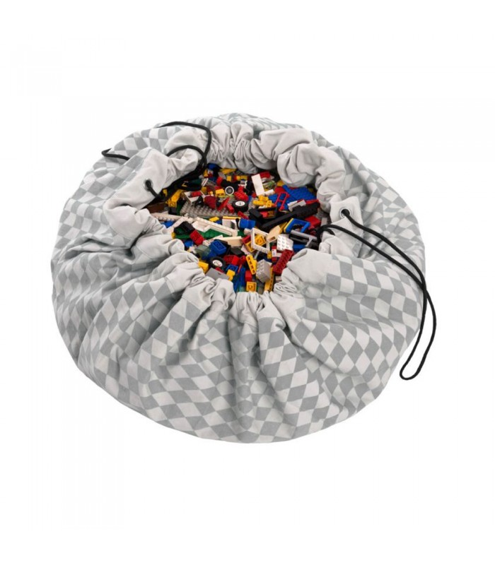 grey and white diamond pattern toy sack and play mat in one