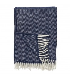 CHEVRON Dark Denim Blue Wool Throw