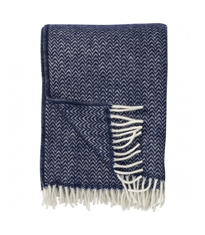 CHEVRON Dark Denim Blue Wool Throw