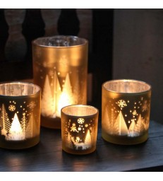 Candleholder - Gold Snowfall - 2 sizes