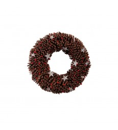 Pinecone and Red Berry Christmas Wreath with stars