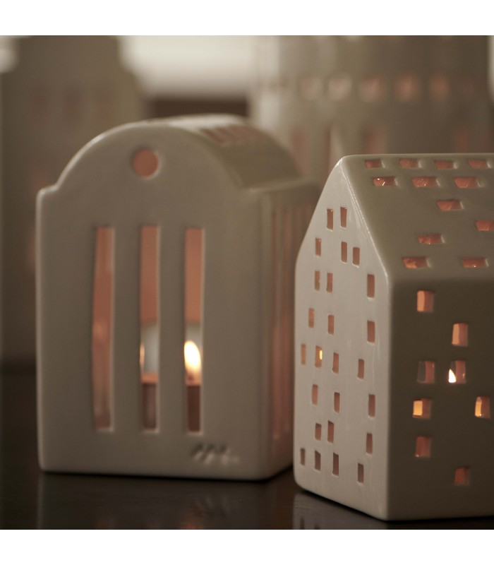 White tea light holder, this domed roof style house can hold one tea light or a string of fairy lights