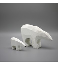 Carved Timber Polar Bears - two sizes