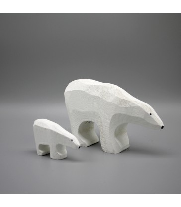 polar bear carved timber christmas decoration two sizes