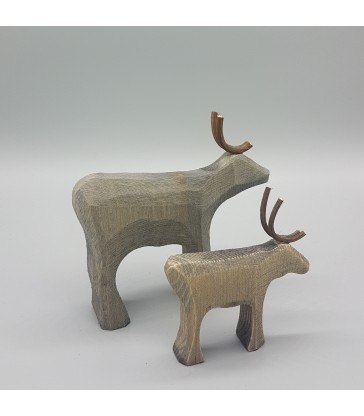 small and big christmas reindeer carved timber