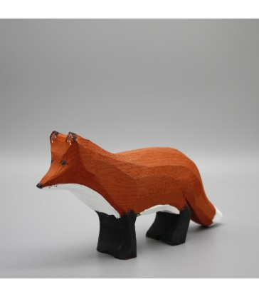 winter fox handpainted and carved from timber