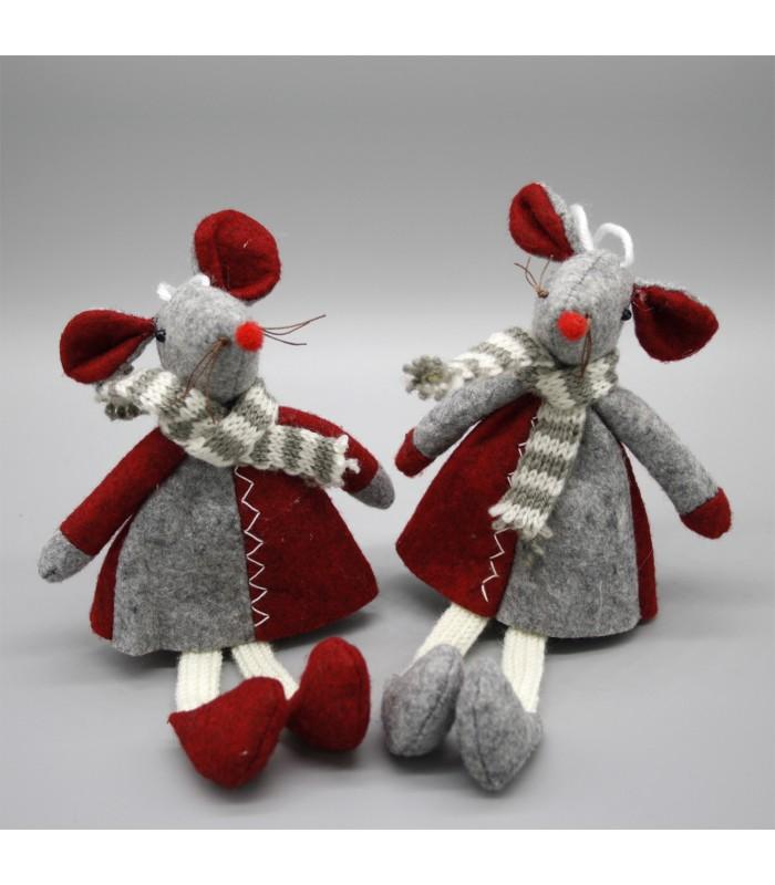 Set of 2 Christmas Mice Decorations