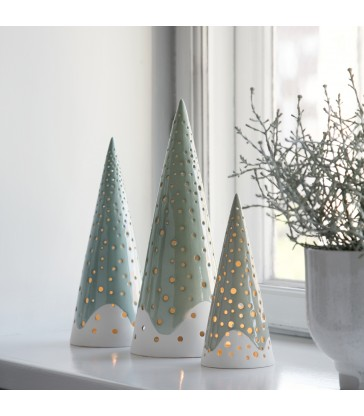 3 different green and white cone tea light holders