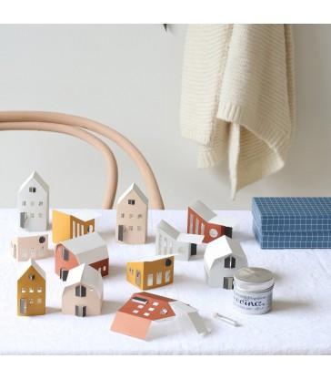 12 miniature paper houses