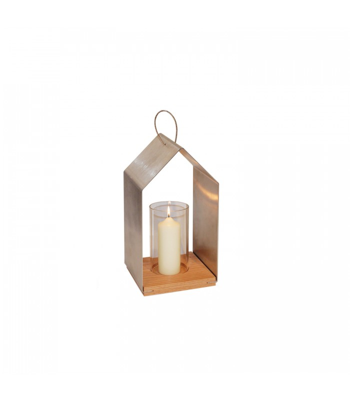 Small  lantern with steel surround and timber base