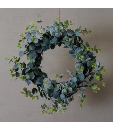 Frosted Eucalyptus Christmas Wreath 55cm diameter