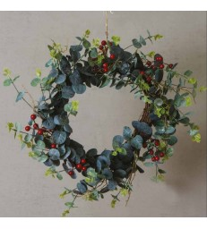 Faux Red Berry and Eucalyptus Christmas Wreath - 50cm