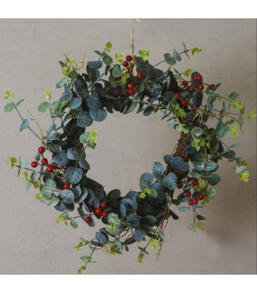 Red Berry and Eucalyptus Christmas Wreath - 50cm