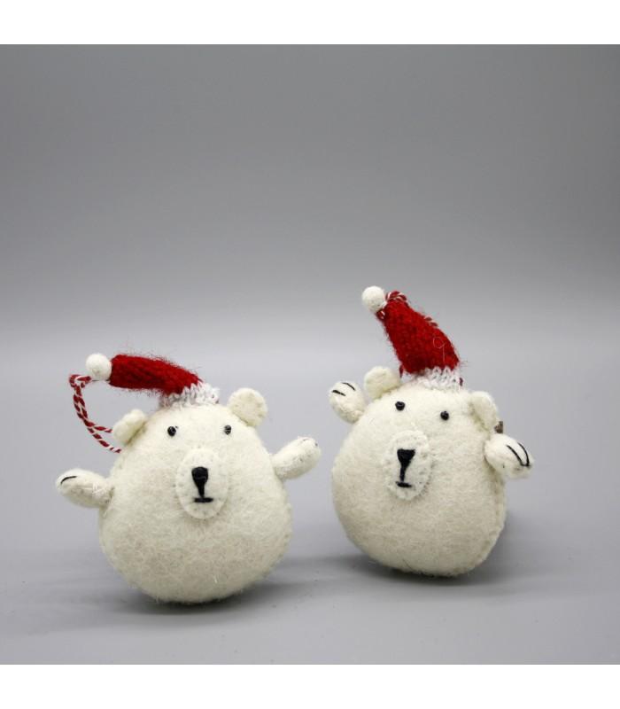 Two Baby Polar Bear Christmas Tree Decorations